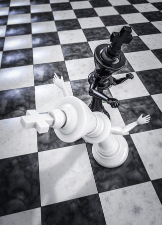 tegenstander: Checkmate knockout black, 3D render of chess king knocking out opponent with punch
