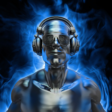 god 3d: Disco god portrait, 3D render of silver male figure with headphones and disco shades engulfed in blue flame