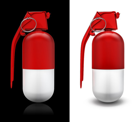 handgrenade: Grenade pill, 3D render of medical capsule as hand grenade