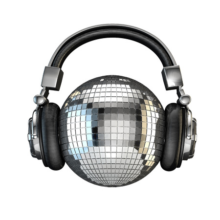Headphone disco ball, 3D render of disco ball with headphones Stock Photo