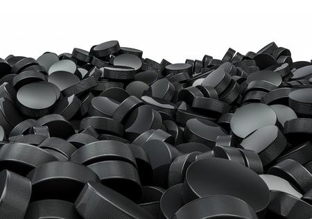 Hockey pucks pile, 3D render of piled hockey pucks