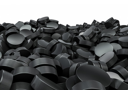Hockey pucks pile, 3D render of piled hockey pucks