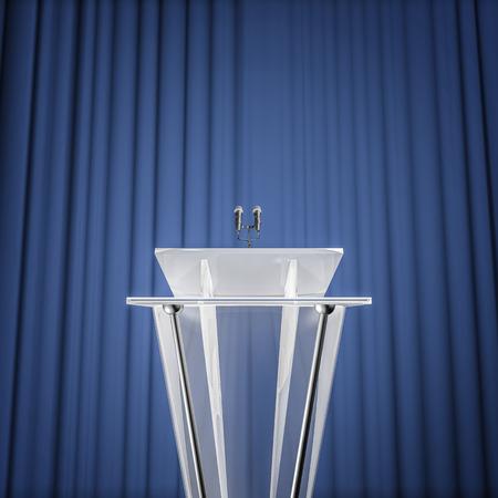 受賞記者会見、マイクとカーテン背景と表彰台の 3 D レンダリング
