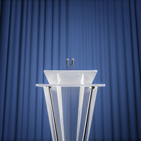 Award press conference, 3D render of podium with microphones and curtain background