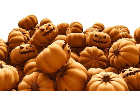 calabazas de halloween: pila de calabaza, render 3D de calabazas de Halloween