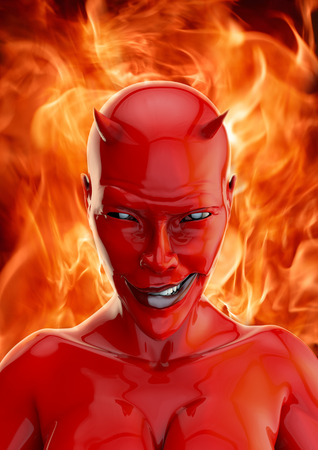 she devil: She devil, 3D render of grinning red she devil and hellfire