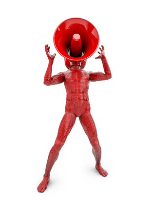 amplify: Shout loud, 3D render of male figure with loudspeaker for head