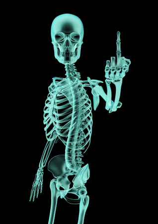 obscenity: The finger x-ray, 3D render of x-rayed skeleton showing rude hand gesture