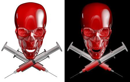 drogadiccion: Cráneo Jeringa y huesos cruzados, 3D rinden de cráneo con jeringas médicas cruzados aislados en blanco y negro