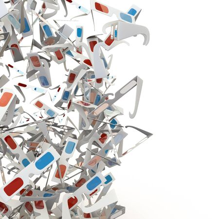 hundreds: 3D glasses wall  3D render of hundreds of 3D glasse