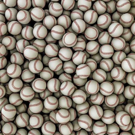 softball: Baseballs background  3D render of baseballs filling image