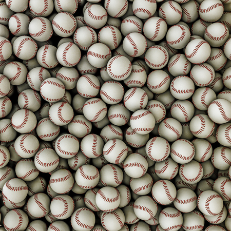 Honkballen achtergrond 3D render van honkballen vullen afbeelding Stockfoto