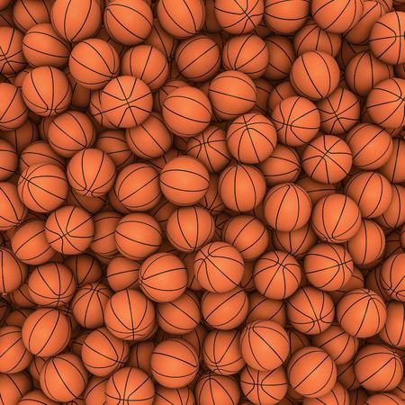 何百もの画像をいっぱいバスケット ボール バスケット ボール背景 3 D のレンダリング