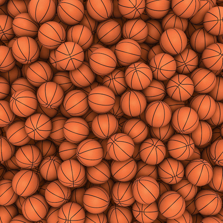 Basketballs background  3D render of hundreds of basketballs filling image Stock Photo