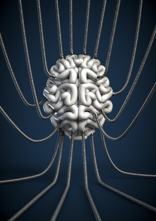 hooked up: Brain drain  3D render of human brain hooked up to metal tubes