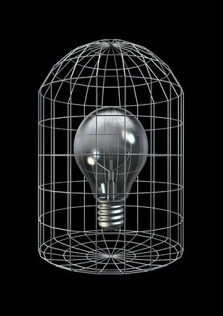 Caged bulb  3D render of light bulb in cage