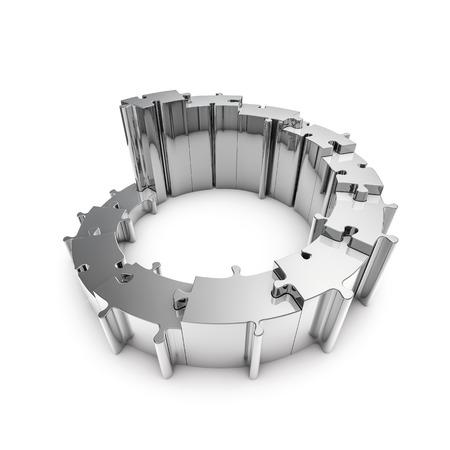 금속 퍼즐 3D는 단계를 형성하는 금속 원형 퍼즐 조각의 렌더링 단계
