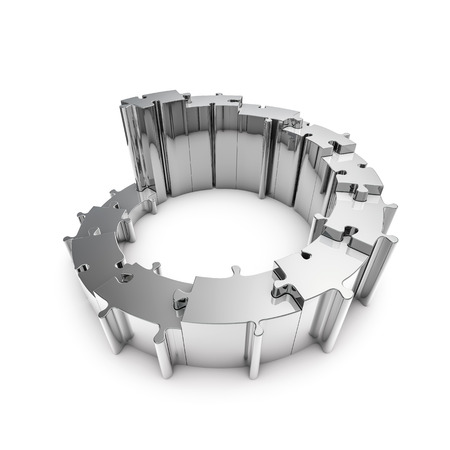 puzzle background: Metal puzzle steps  3D render of metallic circular puzzle pieces forming steps