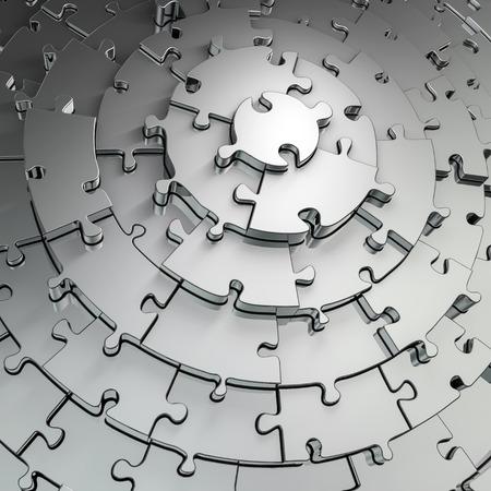 Metal puzzle frame  3D render of metallic circular puzzle pieces framing copy space