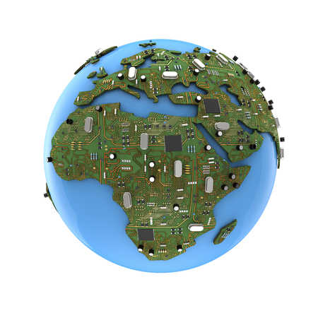 Data Earth  3D render of planet Earth with circuit board for land