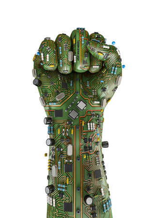 Data fist  3D render of raised fist made of computer circuit board