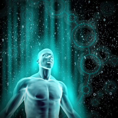 data flow: Data flow  3D render of glowing male figure surrounded by galaxy of binary data Stock Photo