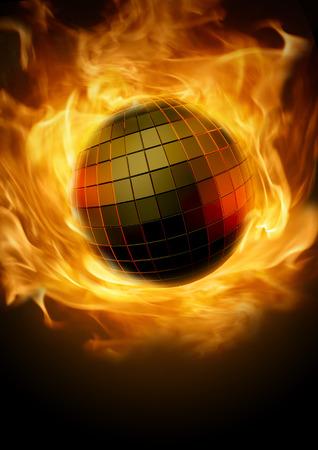ディスコ ・ インフェルノ燃える炎のようなディスコ ボール コンセプト