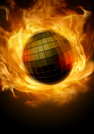 Disco inferno  Blazing fiery disco ball concept