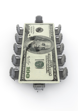 hundred dollar bill: Big business boardroom dollar  3D render of boardroom table made of hundred dollar bill Stock Photo