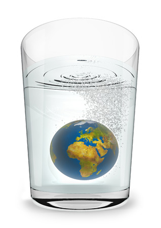 rainwater: Earth seltzer  3D render of planet Earth fizzing in glass of water Stock Photo
