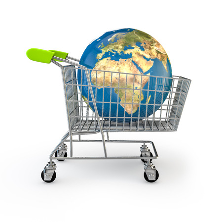 shopping trolley: Global shopping  3D render of planet Earth in shopping trolley Stock Photo