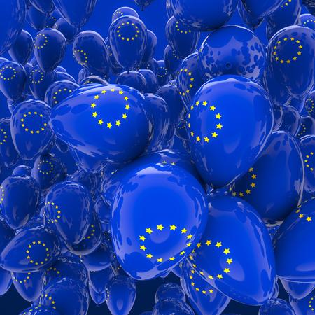 yellow star: EU balloons  3D render of balloons with EU stars symbol Stock Photo