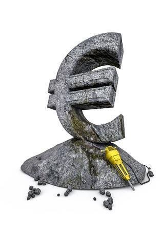 stonework: Stonework euro  3D render of euro symbol carved from stone