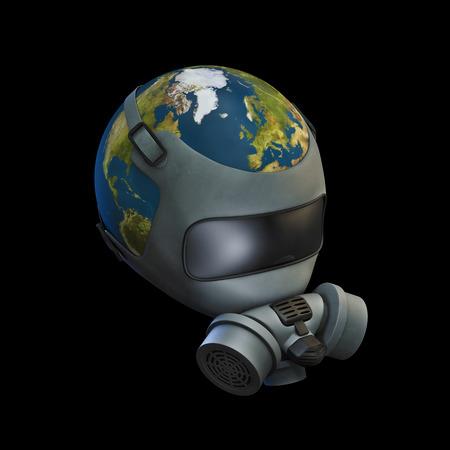 mundo contaminado: máscara de gas Tierra 3D del planeta Tierra usando máscara de gas Foto de archivo