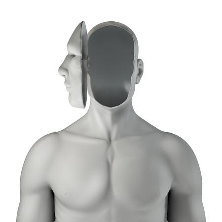 Headcase 3D는 내 얼굴 열린 보여주는 공허함과 남성 그림의 렌더링