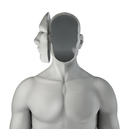 Headcase  3D render of of male figure with face open showing emptiness inside