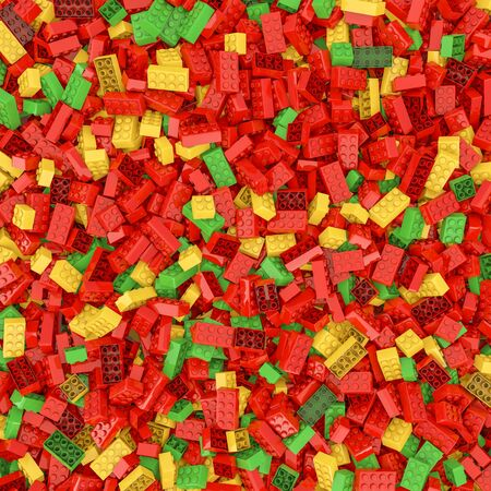 playschool: Giant building blocks background  3D render of hundreds of plastic toy building blocks