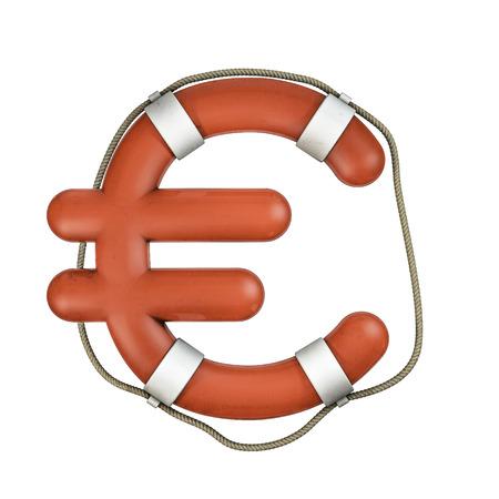 euro symbol: Life ring euro  3D render of euro symbol shaped life ring