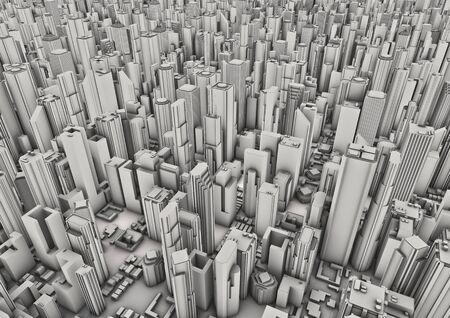 도시 배경은 현대 도시의 공중보기 3D 렌더링
