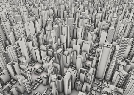 metropolis: City background  3D render of aerial view of modern city Stock Photo