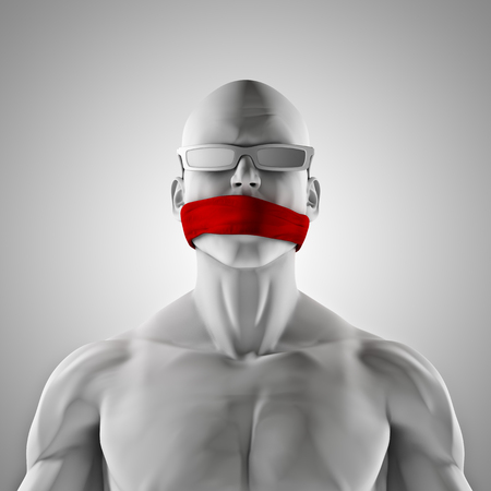 speechless: No comment  3D render of male figure with red gag over mouth