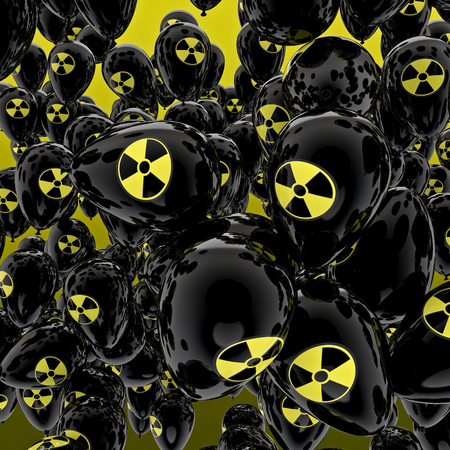 gamma radiation: Nuclear balloons  3D render of balloons with nuclear symbol