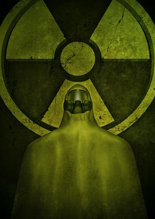 hazmat: Nuclear hazard  3D render of ominous figure in hazmat suit standing below crumbling nuclear power symbol