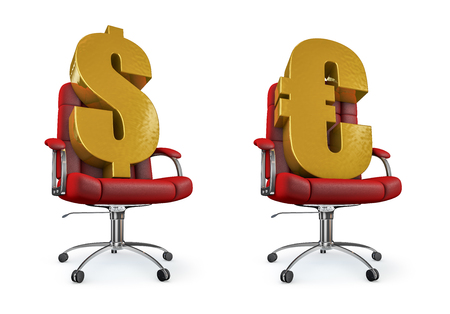 reclining chair: Dollar and euro office chair  3D render of dollar and euro symbol reclining in office chair