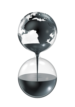 unsustainable: Oil hourglass  3D render of limited oil reserves concept