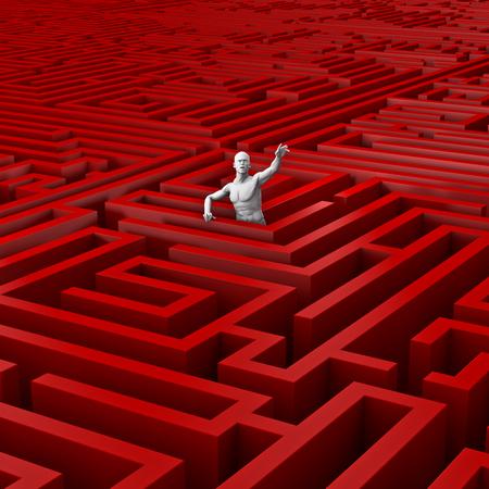 미로 3D에 갇혀 것은 거대한 미로에 갇혀 남성의 그림을 렌더링