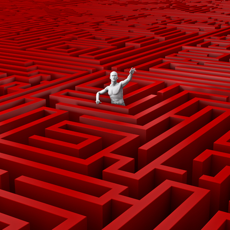Trapped in the maze  3D render of male figure trapped in vast maze