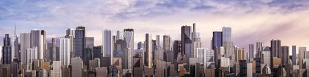 하루 도시 파노라마 밝은 하늘 아래 낮 현대 도시의 3D 렌더링 스톡 콘텐츠