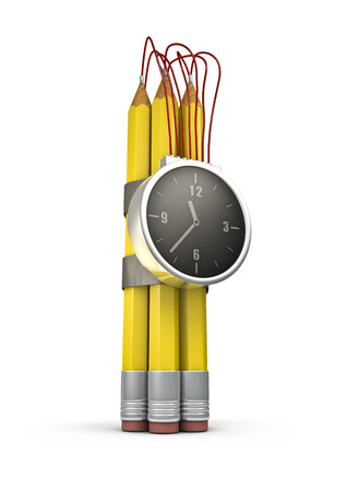 illiteracy: Pencil time bomb  3D render of time bomb with pencils as explosive