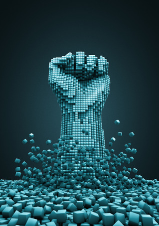Digital revolution  3D render of pixelated fist raised in protest